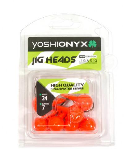 Джигголовка Yoshi Onyx JIG Bros Шар 1, вес 17.5г, 8шт., цвет оранжевый (крючок Eagle Claw)