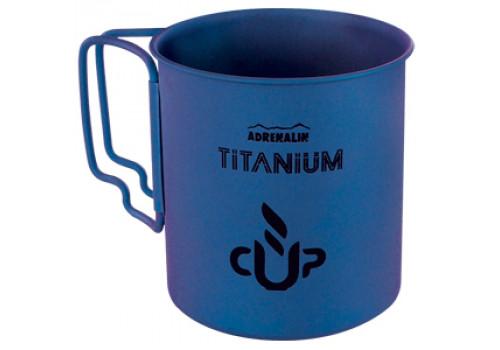 Титановая кружка со складными ручками Adrenalin Titanium Cup  Blue