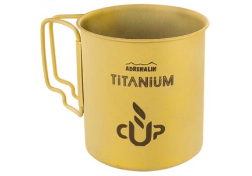 Титановая кружка со складными ручками Adrenalin Titanium Cup Yellow