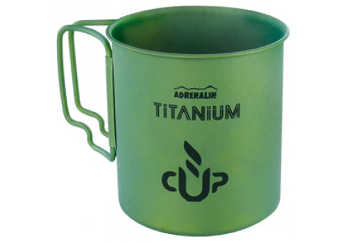Титановая кружка со складными ручками Adrenalin Titanium Cup Green